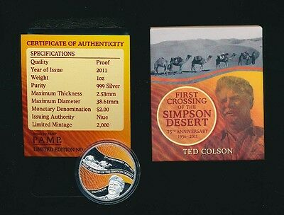 Niue: 2011 $1 1st Crossing of The Simpson Dessert Ted Colson Colored 1oz Silver