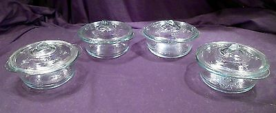 Set 4 Antique EAPG Covered Dishes, Individual Servers, Small, Raised Design