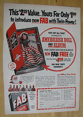 0554 Magazine Ad: Fab Soap Offer: Americana Doll & Album for $1.00 1954