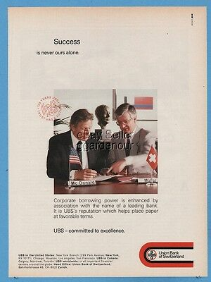 1987 Union Bank Of Switzerland USB Swiss Bank SUCCESS is never ours alone ad