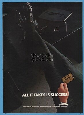 1985 MasterCard Gold Credit Charge Card Suit Legs On Desk Phone Photo Ad