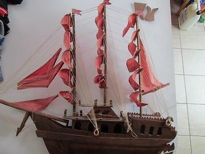Large Antique Wooden Ship Hand Made W/ Sails and Masts