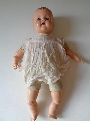 """Vintage Large Doll Plastic Head Sleepy Eyes Hole In Back Of Body Open Mouth 22"""""""