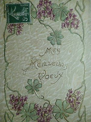cpa gaufrée fleur postcard embossed antique artist flower cartolina fiore carte