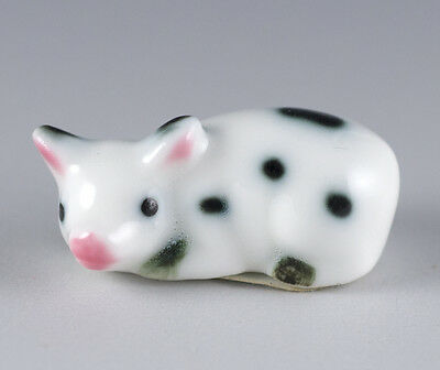 Vintage Bug House Miniature Bone China Black & White Spotted Pig Figurine Japan