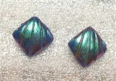 Molded Blue Metallic Square Deco Style Pierced Earrings    G500