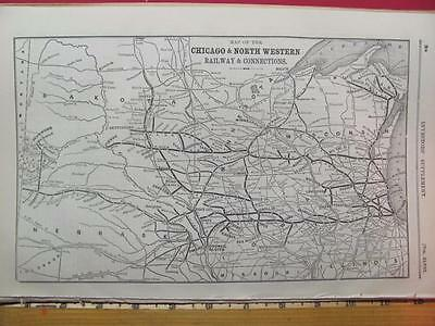 Very Rare 1889 Chicago & North Western Railroad System Map C&nw Rr History