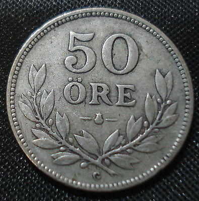Sweden 1934 Silver 50 Ore Decent Condition
