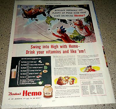 1944 BORDEN'S Elsie the Cow Vintage Food AD Beulah on a swing