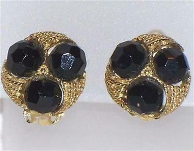 Vintage Round Gold Tone & Black Bead Clip On Earrings