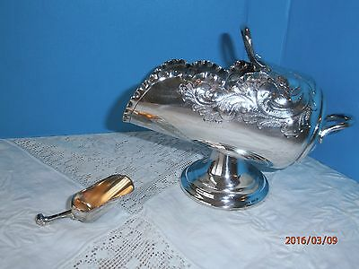 Vintage Silver Plate Sugar Bowl Scuttle With Scoop Ornate