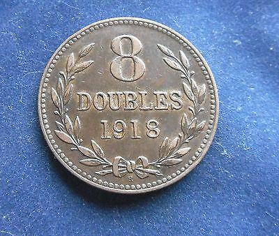 Guernsey, 8 Doubles 1918 H, in Good Condition.
