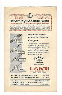 Bromley v Romford 1958 - 1959  Isthmian League