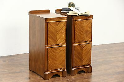 Art Deco 1940's Vintage Pair of Mahogany Nightstands
