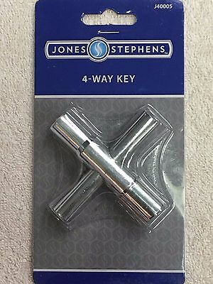 Water Valve Faucet Sillcock Key 4-Way key 1/4, 9/32, 5/16, 11/32 Plated Steel