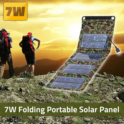 7W 5V Portable 4 Folded Military Solar Charger Panel For Smartphone Tablet New