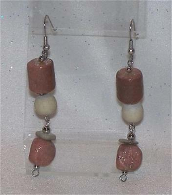 Dangling Brown And Cream Colored Plastic Bead Pierced Earrings