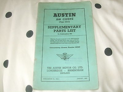 Austin A40 Coupe Supplementary Parts List