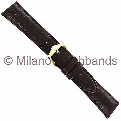19mm Hirsch Camel Grain Brown Genuine Leather Light Padding Stitched Watch Band