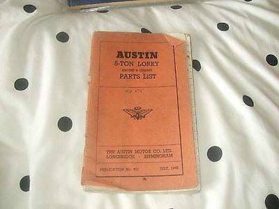 Austin 5 Ton Lorry Engine and Chassis Parts List