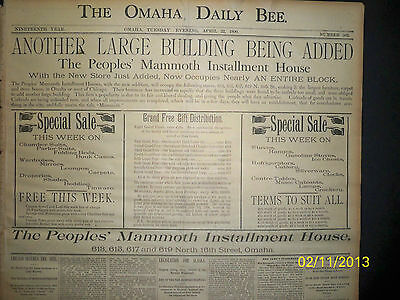 Newspaper - Omaha Daily Bee - Legislation For Alaska / Boxing 1890