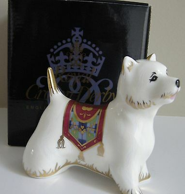 Royal Crown Derby West Highland Terrier Paperweight, Gold Stopper with Box