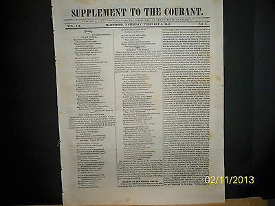 Newspaper - Supplement To The Courant  - The Slaver / Earthquake   1842