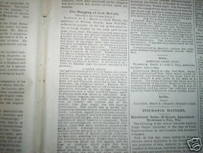 NEWSPAPER - ST LOUIS GLOBE DEMOCRAT - JACK McCALL HANGED   1877