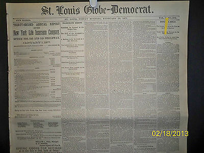 Newspaper - St Louis Globe Democrat - Baseball / John D. Lee /black Hills  1877