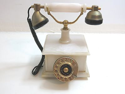 Vintage Rotary Dial Telephone German Hagenuk White Marble With Brass Accents