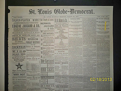 Newspaper - St Louis Globe Democrat - The Apaches / Four Hangings In S.c.  1877