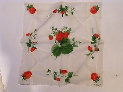 Three vintage fine cotton/ chiffon handkerchiefs in white/pink fruit/ flowers