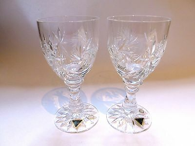 A pair of Hungarian vintage lead crystal wine glasses