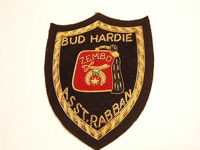 Zembo Shriner patch with sword & crescent:  Bud Hardie  Asst. Rabban
