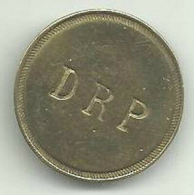 """Vintage """"DRP"""" advertising token good for 5 cents in trade"""