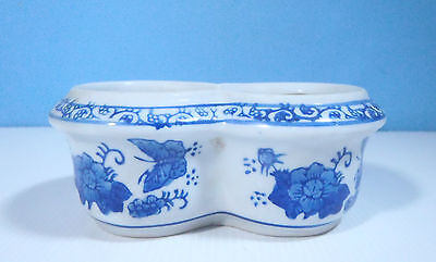 Chinese blue & white porcelain flower bonsai pot hand painted special shape ee
