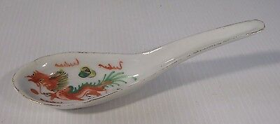 Antique Chinese porcelain spoon hand painted export porcelain circa mid century