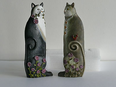 Pair Flowered Cats Hand Crafted 8½ very attractive