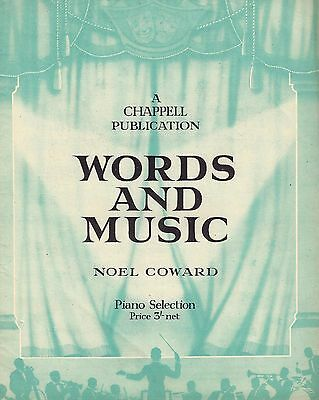 """Noel Coward """"WORDS and MUSIC"""" Piano Selection (Eight Songs) 1932 Sheet Music"""