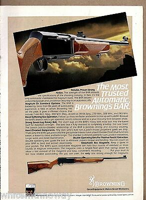 1981 BROWNING BAR Automatic Rifle AD Vintage Firearms Advertising