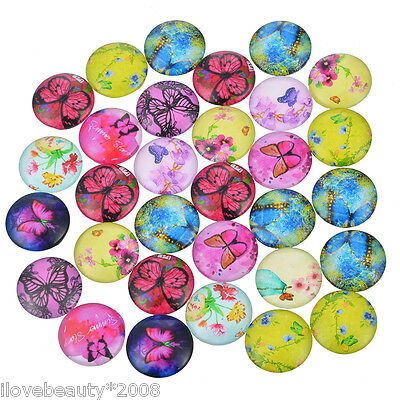 10PCs Mixed Butterfly Glass Flatback Scrapbooking Dome Cabochons 12mm