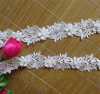 1 Yard Vintage Pearl Lace Edge Trim Wedding Bridal Dress Ribbon Sewing Crafts