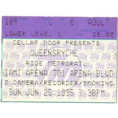 QUEENSRYCHE & TYPE O NEGATIVE Concert Ticket Stub MIAMI FLORIDA 6/25/96 ARENA
