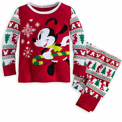 Disney Store Minnie Mouse Holiday  Pajama Set  Christmas Baby Girls Size 0-3