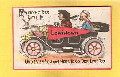 "Lewistown,MT Montana, Name on printed pennant old car ""going der limit"""