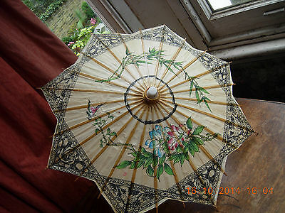 Antique Parasol of paper & bamboo, small, hand painted picture