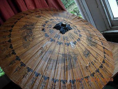 Antique Parasol of paper & bamboo, large with hand painted picture & inscription