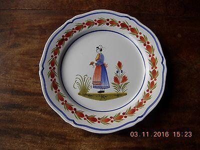 "Vintage French pottery Henriot Quimper 10"" plate hand decorated"