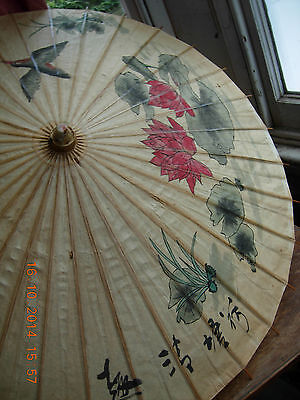 Antique Parasol made of paper and bamboo with hand painted picture & inscription