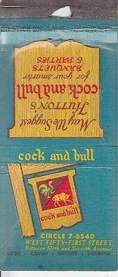 Cock and Bull West 51st St. New York City NYC NY Old Matchcover